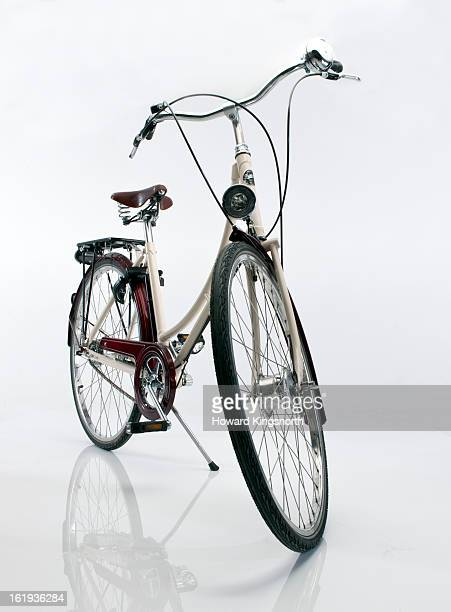 Ladies bicycle on white background