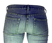Ladies blue denim jeans isolated on a white background with no body.