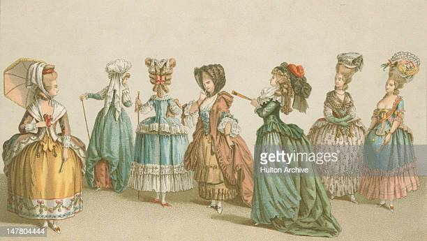 Ladies' fashions from the reign of King Louis XVI France circa 1780 From left to right a polonaise with silk trimmings coiffure 'a la marmotte' after...