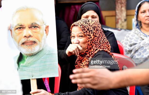 Ladies from Muslim community celebrated after verdict given by Supreme Court for Ban of Triple Talaaq at Byculla on August 22 2017 in Mumbai India In...