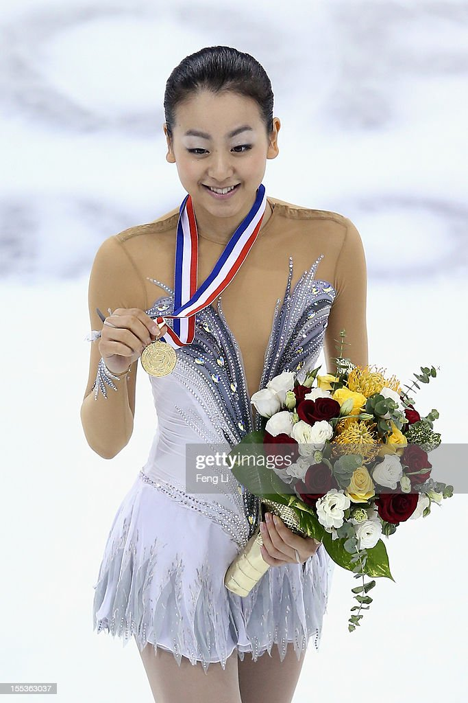 Ladies gold medalist Mao Asada of Japan poses for photo during the medal ceremony of Cup of China ISU Grand Prix of Figure Skating 2012 at the Oriental Sports Center on November 3, 2012 in Shanghai, China.
