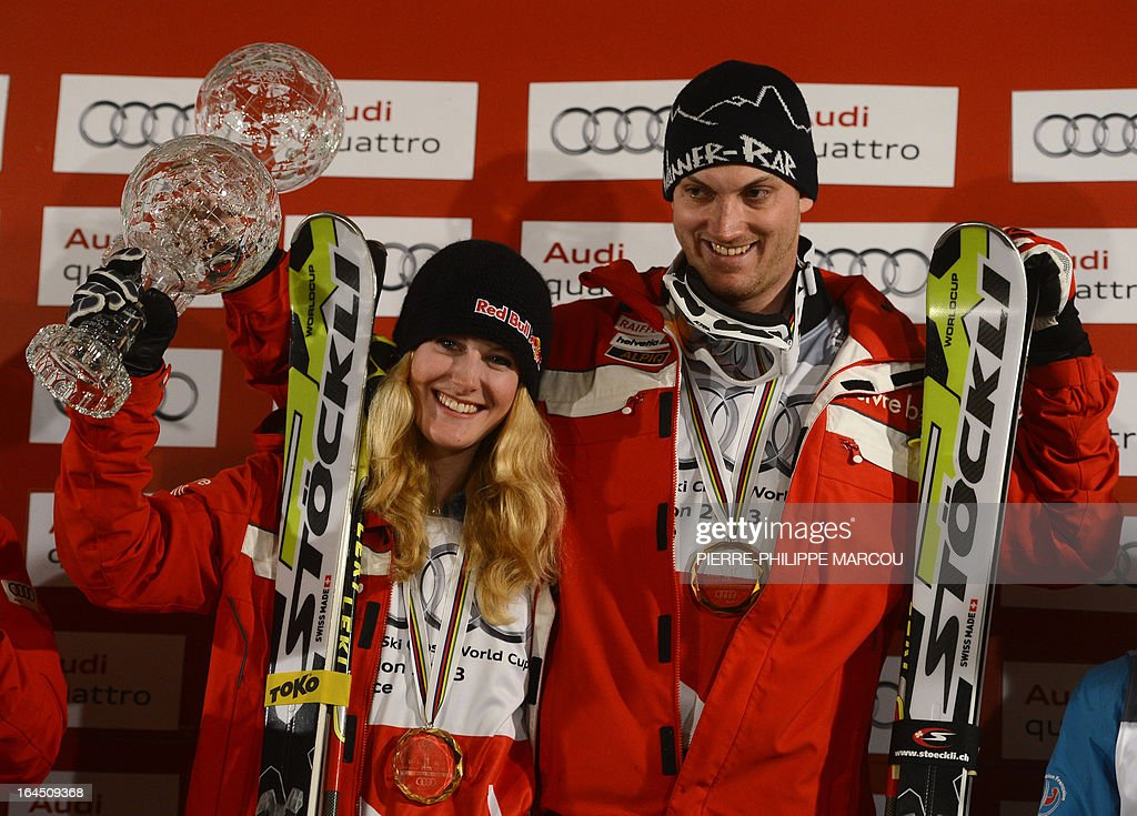 Ladies' gold medallist Swiss snowboarder Fanny Smith (L) and Men's gold medallist Swiss snowboarder Alex Fiva pose with their trophies on the podium of the Skicross World Cup standings during the World Cup Super finals Snowboard and FreeStyle at Sierra Nevada ski resort near Granada on March 24, 2013. The Ski Cross race was cancelled today due to bad weather.