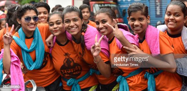 Ladies Govinda revellers on the occasion of Gokulashtami at Prabhadevi on August 15 2017 in Mumbai India The childgod Krishna and his friends used to...