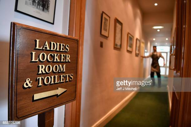 A ladies locker romm sign inside Muirfield Golf Club on March 14 2017 in Gullane Scotland Muirfield golf club members have voted to admit women...