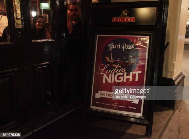 A 'ladies night' drinks promotion sign outside a pub in Covent Garden central London PRESS ASSOCIATION Photo Picture date Friday 25 January 2013...