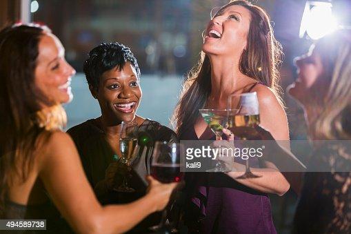 Ladies night out, having fun at a bar