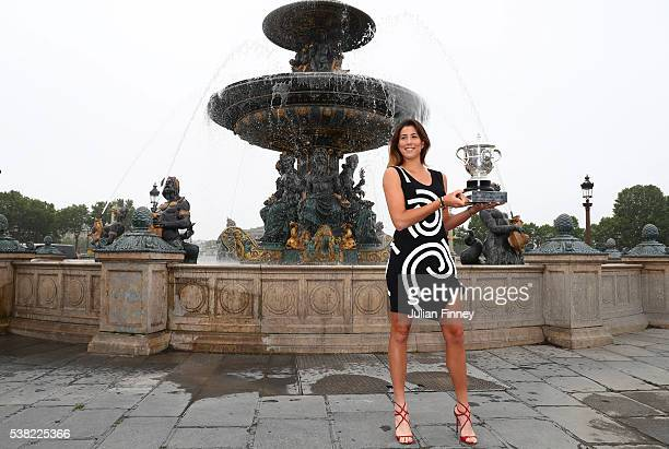 Ladies Singles Champion Garbine Muguruza of Spain poses with the trophy on day fifteen of the 2016 French Open at Place de la Concorde on June 5 2016...