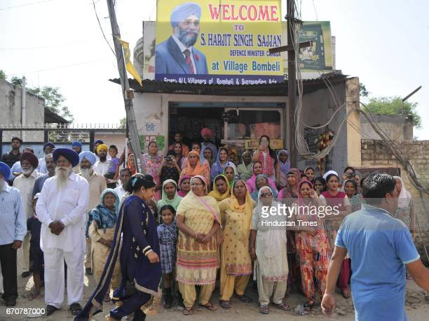 Ladies waiting for Canadian Defence Minister Harjit Singh Sajjan to welcome during his visit on his ancestral village Bombeli on April 20 2017 in...