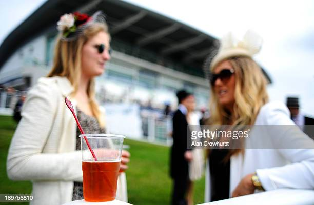Ladies with their Pimms at Epsom racecourse on June 01 2013 in Epsom England