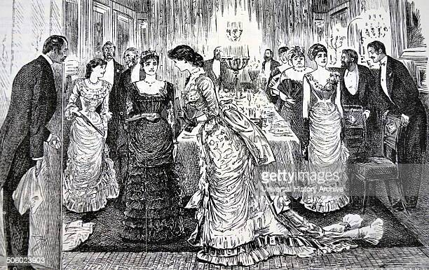 Ladies withdrawing after dinner leaving the gentlemen to enjoy port and cigars Cartoon by George du Maurier from ''Punch'' London 1883 Photo by