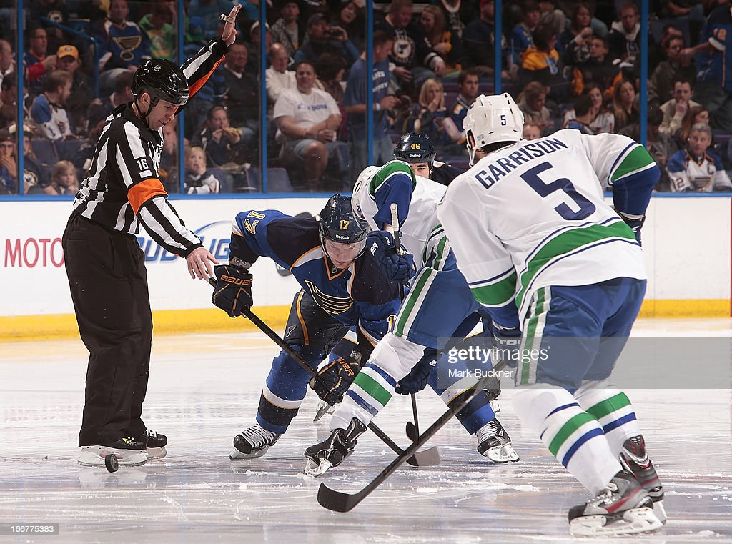 V ladimir Sobotka #17 of the St. Louis Blues faces off against <a gi-track='captionPersonalityLinkClicked' href=/galleries/search?phrase=Ryan+Kesler&family=editorial&specificpeople=206915 ng-click='$event.stopPropagation()'>Ryan Kesler</a> #17 of the Vancouver Canucks in an NHL game on April 16, 2013 at Scottrade Center in St. Louis, Missouri.