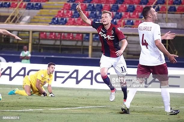 Ladislav Kejci of Bologna FC celebrates after scoring the opening goal during the Tim Cup match between Bologna FC andTrapani Calcio at Stadio Renato...