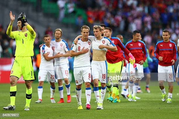 Ladislav Krejci and David Limbersky of Czech Republic in discussion after the UEFA EURO 2016 Group D match between Czech Republic and Croatia at...