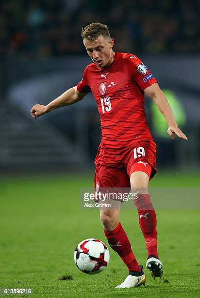 Ladislav Krejci of Czech Republic controles the ball during the FIFA World Cup 2018 qualifying match between Germany and Czech Republic at...