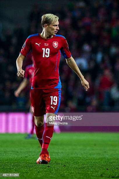 Ladislav Krejci of Czech Republic in action during the UEFA EURO 2016 Group A Qualifier match between Czech Republic and Turkey at Letna Stadium on...