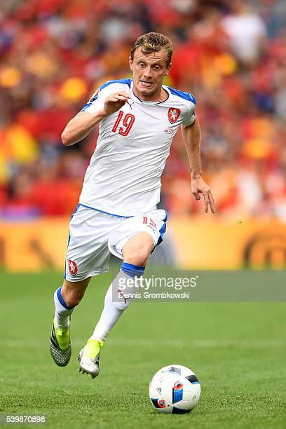 Ladislav Krejci of Czech Republic in action during the UEFA EURO 2016 Group D match between Spain and Czech Republic at Stadium Municipal on June 13...