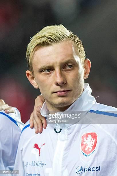 Ladislav Krejci of Czech Republic is seen before the UEFA EURO 2016 Group A Qualifier match between Czech Republic and Turkey at Letna Stadium on...