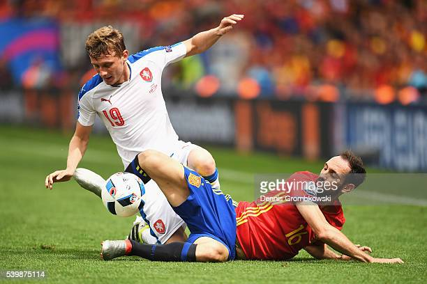 Ladislav Krejci of Czech Republic is tackled by Juanfran of Spain during the UEFA EURO 2016 Group D match between Spain and Czech Republic at Stadium...
