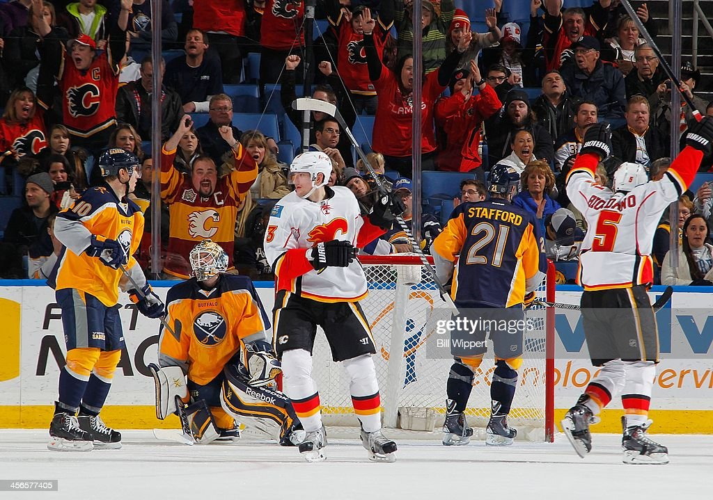 Ladislav Smid #3 and Mark Giordano #5 of the Calgary Flames react after Matt Stajan (not shown) scored the overtime winning goal against <a gi-track='captionPersonalityLinkClicked' href=/galleries/search?phrase=Jhonas+Enroth&family=editorial&specificpeople=570456 ng-click='$event.stopPropagation()'>Jhonas Enroth</a> #1 of the Buffalo Sabres on December 14, 2013 at the First Niagara Center in Buffalo, New York. Calgary won, 2-1.