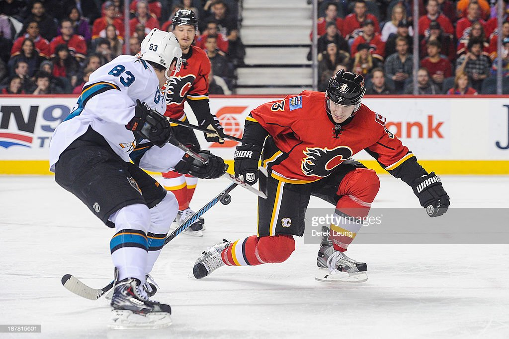 Ladislav Smid of the Calgary Flames defends against Matt Nieto of the San Jose Sharks during an NHL game at Scotiabank Saddledome on November 12 2013...