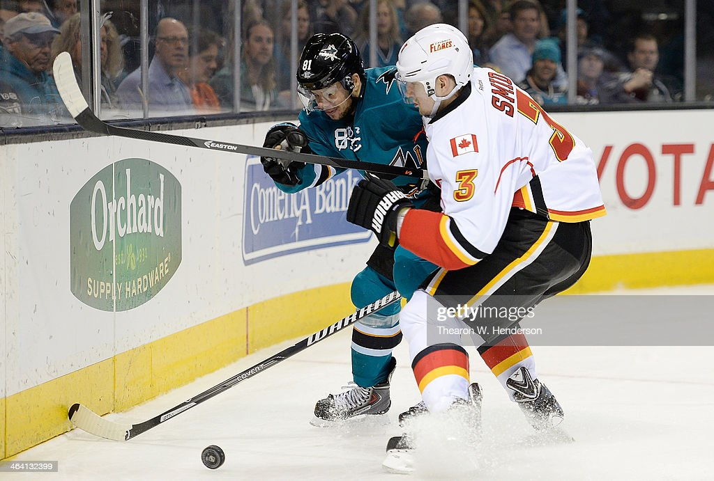 Ladislav Smid #3 of the Calgary Flames races for the puck, colliding with <a gi-track='captionPersonalityLinkClicked' href=/galleries/search?phrase=Tyler+Kennedy&family=editorial&specificpeople=2119414 ng-click='$event.stopPropagation()'>Tyler Kennedy</a> #81 of the San Jose Sharks during the second period at SAP Center on January 20, 2014 in San Jose, California.