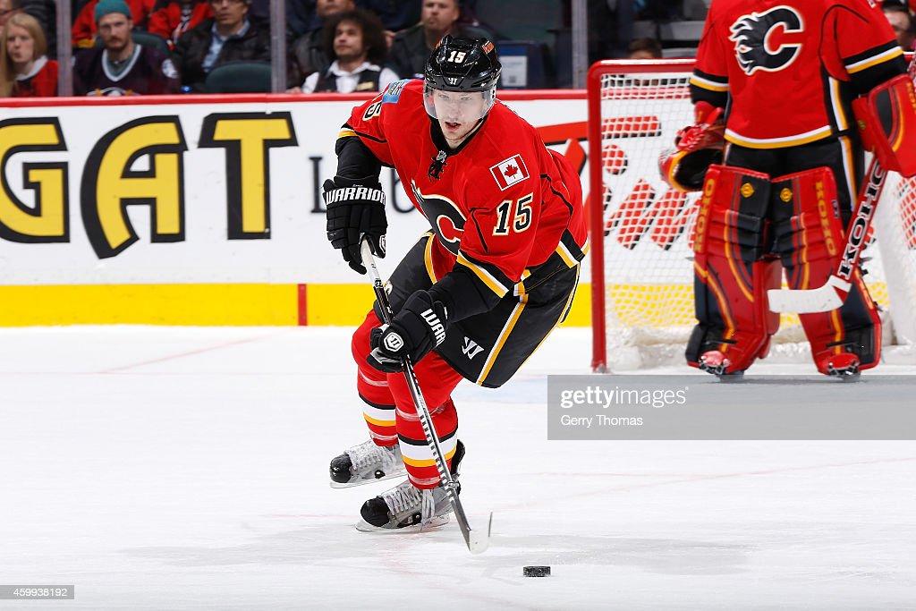 Ladislav Smid of the Calgary Flames skates against the Anaheim Ducks at Scotiabank Saddledome on November 18 2014 in Calgary Alberta Canada The...