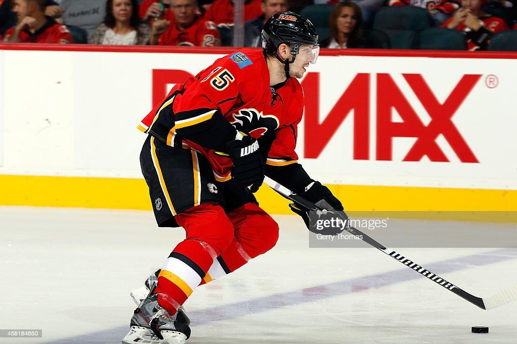 Ladislav Smid of the Calgary Flames skates against the Carolina Hurricanes at Scotiabank Saddledome on October 23 2014 in Calgary Alberta Canada The...