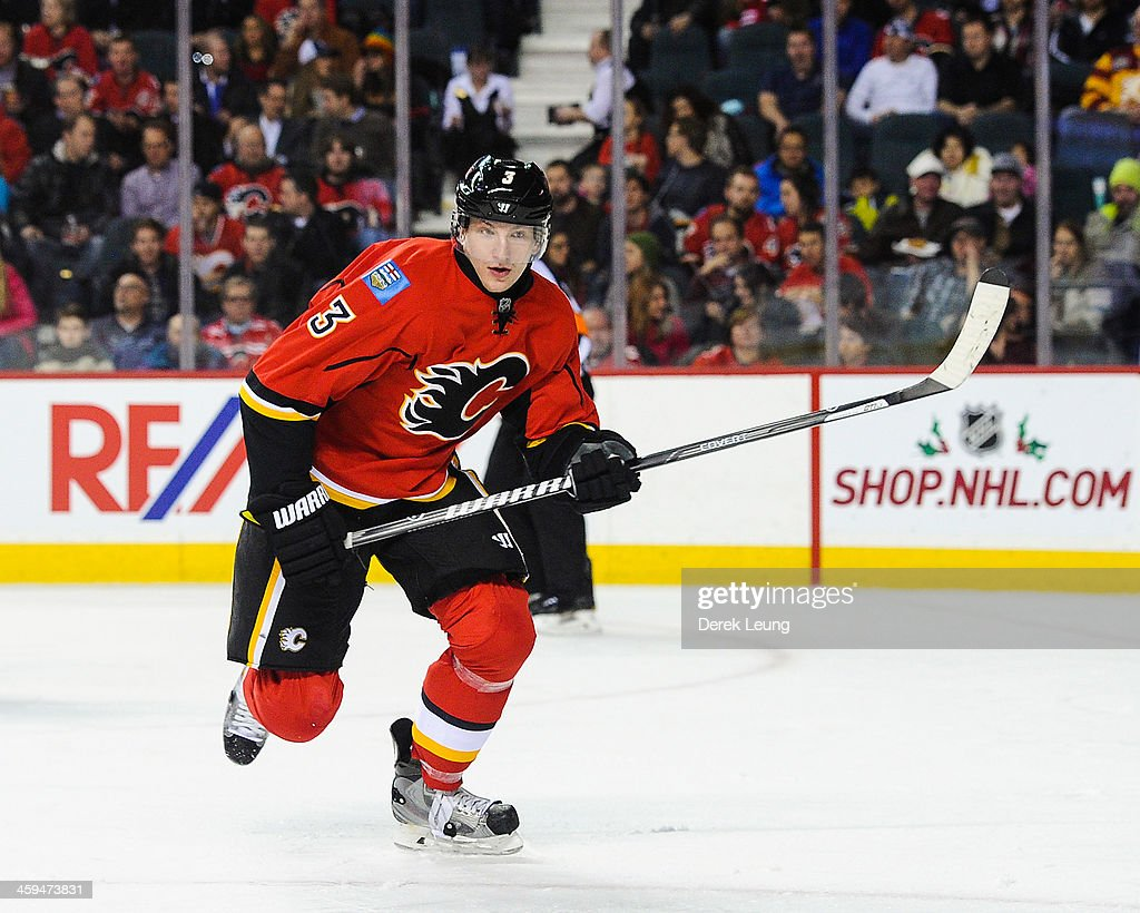 Ladislav Smid of the Calgary Flames skates against the Colorado Avalanche during an NHL game at Scotiabank Saddledome on December 6 2013 in Calgary...