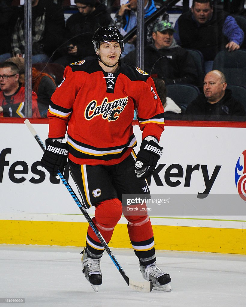 Ladislav Smid of the Calgary Flames skates against the Edmonton Oilers during an NHL game at Scotiabank Saddledome on November 16 2013 in Calgary...