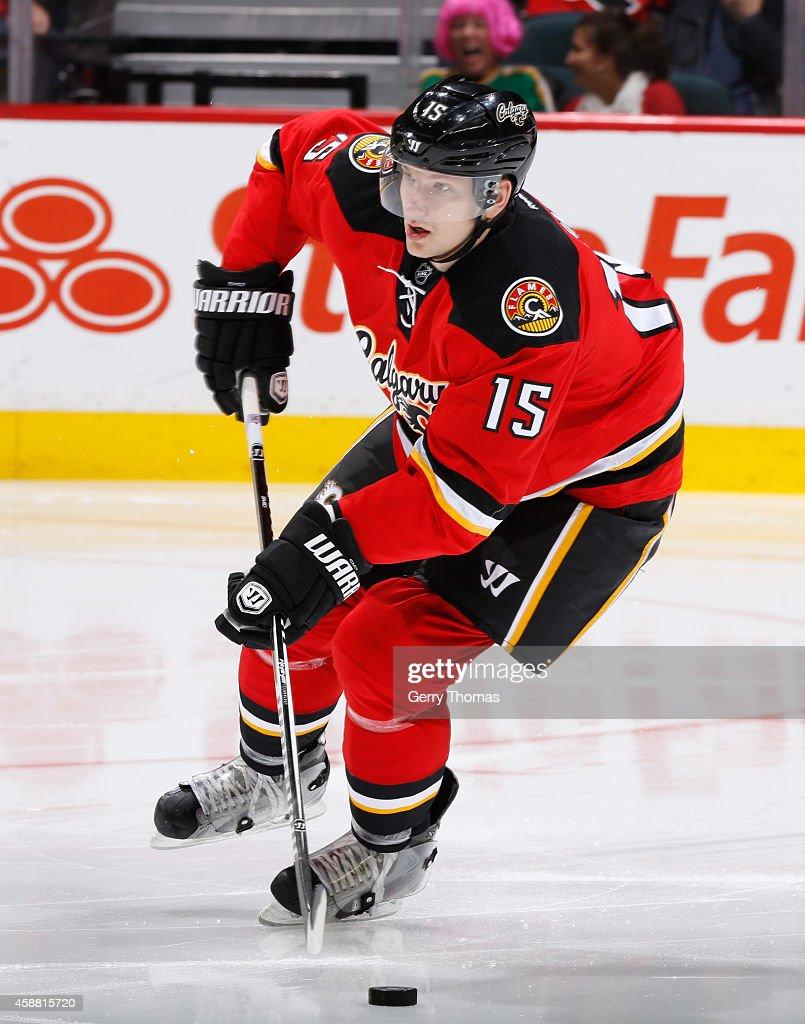 Ladislav Smid of the Calgary Flames skates against the Nashville Predators at Scotiabank Saddledome on October 31 2014 in Calgary Alberta Canada