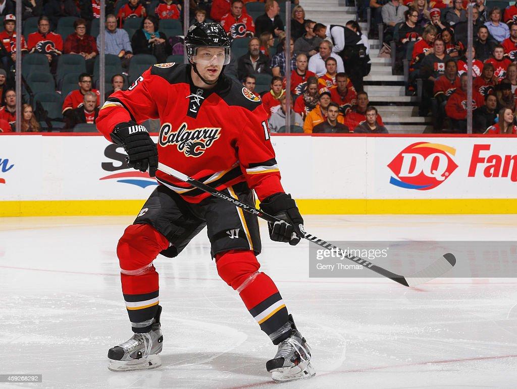 Ladislav Smid of the Calgary Flames skates against the Ottawa Senators at Scotiabank Saddledome on November 15 2014 in Calgary Alberta Canada