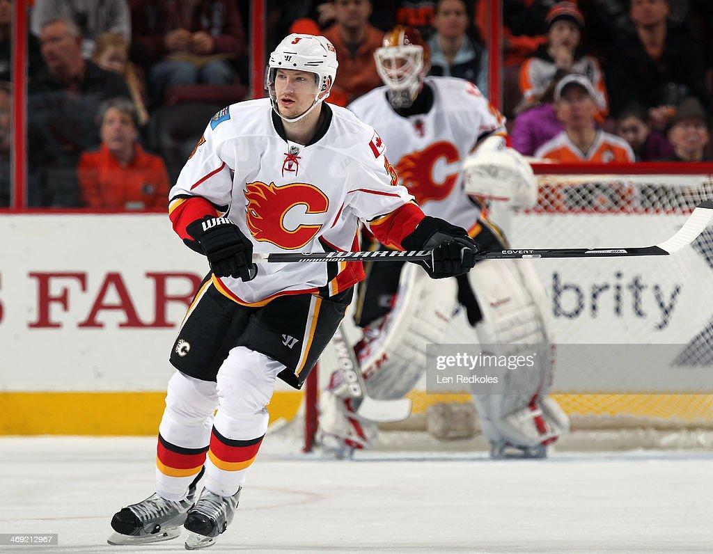 Ladislav Smid of the Calgary Flames skates against the Philadelphia Flyers on February 8 2014 at the Wells Fargo Center in Philadelphia Pennsylvania