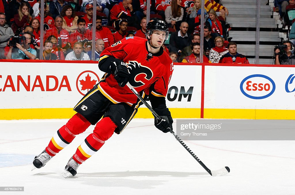 Ladislav Smid of the Calgary Flames skates against the Vancouver Canucks at Scotiabank Saddledome on October 8 2014 in Calgary Alberta Canada The...