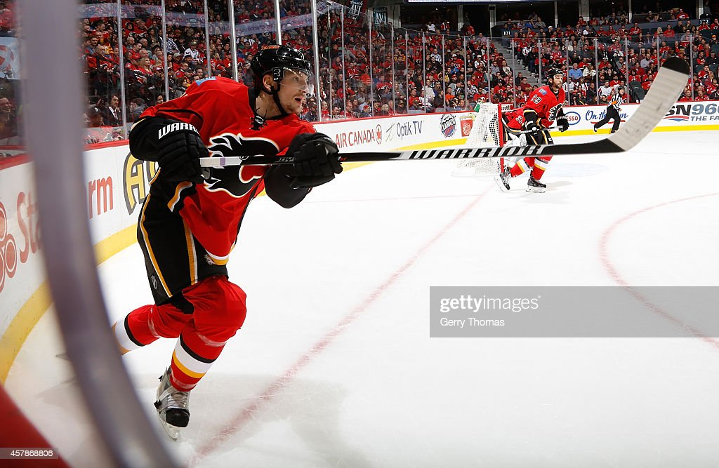 Ladislav Smid of the Calgary Flames skates against the Washington Capitals at Scotiabank Saddledome on October 25 2014 in Calgary Alberta Canada