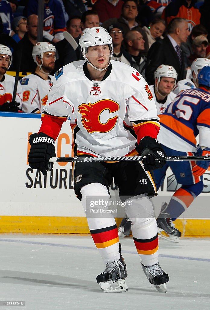 Ladislav Smid of the Calgary Flames skates during an NHL hockey game against the New York Islanders at Nassau Veterans Memorial Coliseum on February...