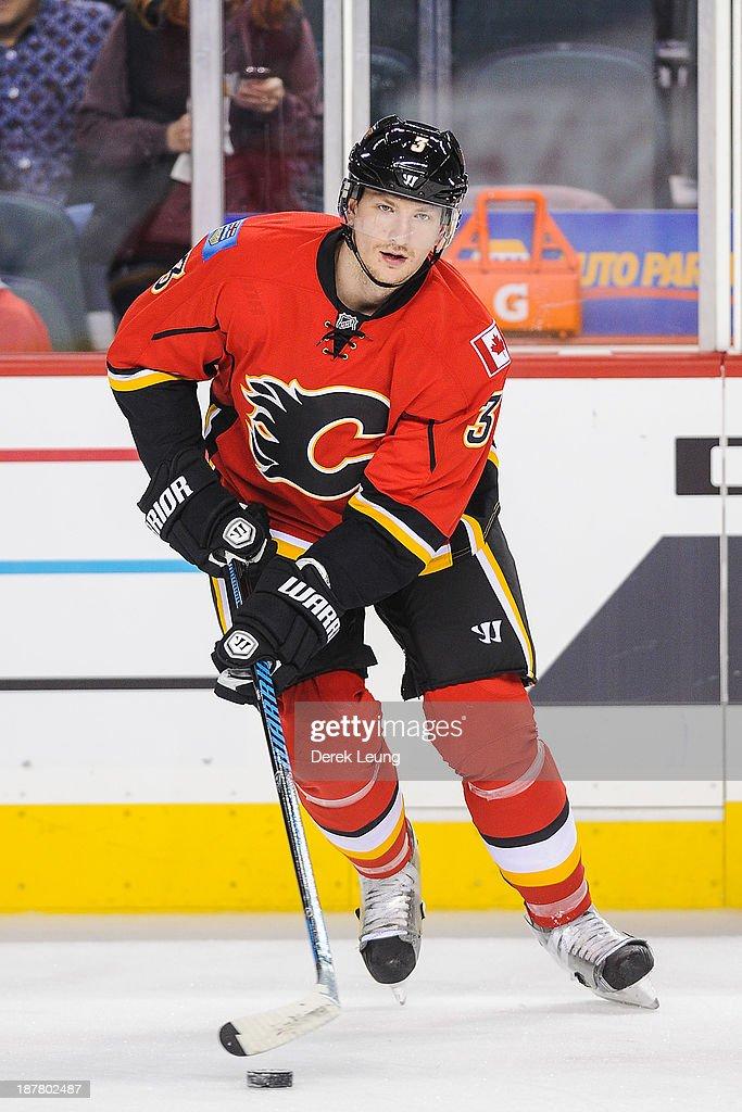 Ladislav Smid of the Calgary Flames skates during warmups prior to an NHL game against the San Jose Sharks at Scotiabank Saddledome on November 12...