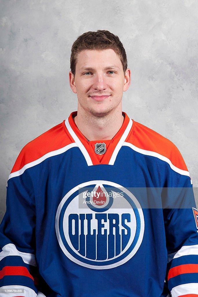 Ladislav Smid of the Edmonton Oilers poses for his official headshot for the 20112012NHL season September 16 2011 in Edmonton Alberta Canada
