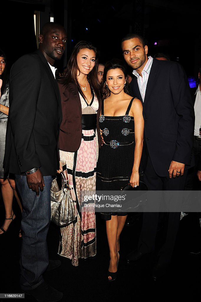 Ladj Doukoure, Rachel Legrain-Trapani, basketball player Tony Parker and Actress Eva Longoria attends the Launch Party for the Ingenieur Automatic Edition Zinedine Zidane watch, held at Palais de Chaillot, on June 16, 2008 in Paris, France.