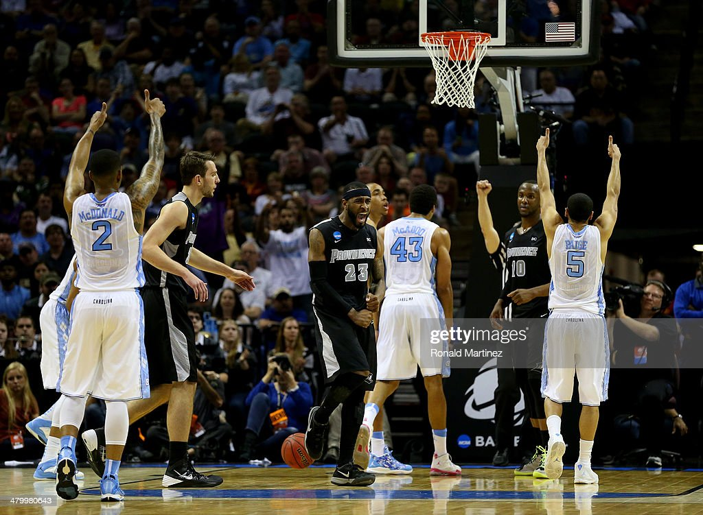 LaDontae Henton #23 of the Providence Friars reacts after James Michael McAdoo #43 of the North Carolina Tar Heels hit a free throw during the closing seconds of the Tar Heels 79-77 win during the second round of the 2014 NCAA Men's Basketball Tournament at AT&T Center on March 21, 2014 in San Antonio, Texas.
