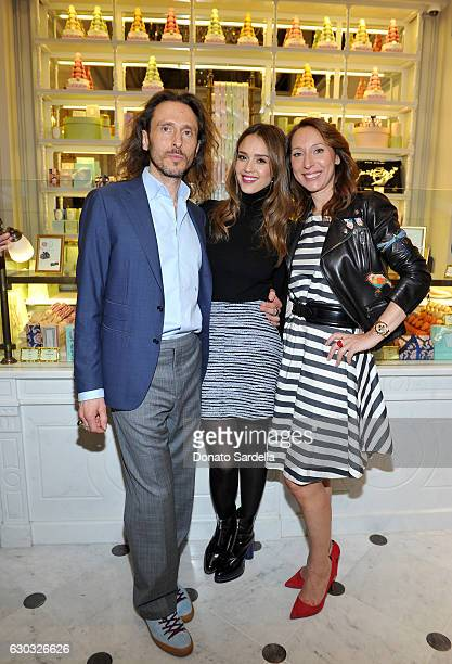 Ladurée copresident Elisabeth Holder Raberin actress Jessica Alba and Ladurée copresident David Holder attend the opening of Laduree at The Grove in...