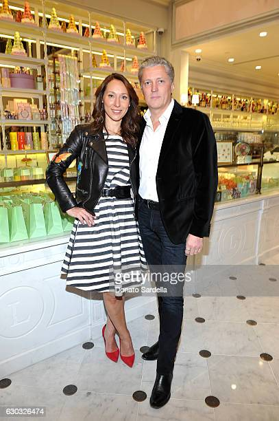 Ladurée copresident Elisabeth Holder Raberin and PierreAntoine Raberin attend the opening of Laduree at The Grove in Los Angeles hosted by Rick...