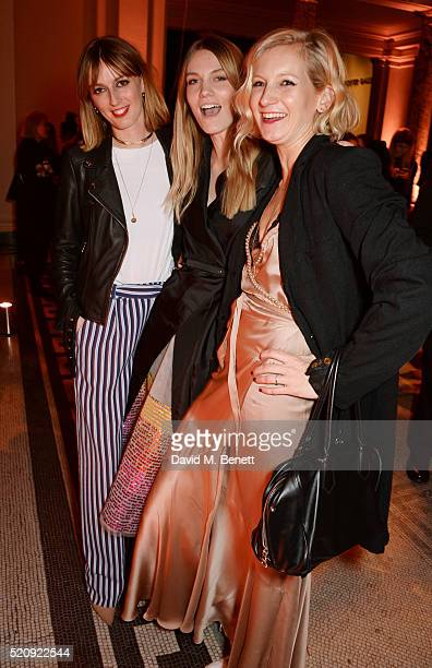 Lady Alice Manners Georgie Macintyre and Savannah Miller attend a private view of new exhibition 'Undressed A Brief History Of Underwear' at The VA...