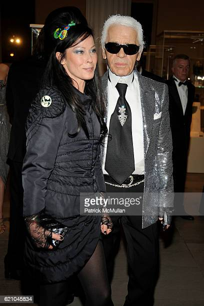 Lady Amanda Harlech and Karl Lagerfeld attend THE COSTUME INSTITUTE GALA 'SUPERHEROES' with honorary chair GIORGIO ARMANI at The Metropolitan Museum...