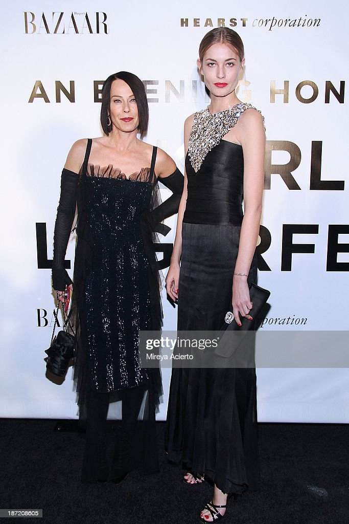 Lady Amanda Harlech and Liz Kaplow attend An Evening Honoring Karl Lagerfeld at Alice Tully Hall on November 6, 2013 in New York City.