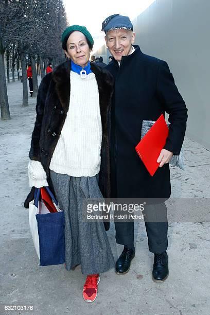 Lady Amanda Harlech and Stephen Jones attend the Louis Vuitton Menswear Fall/Winter 20172018 show as part of Paris Fashion Week Held at Palais Royal...