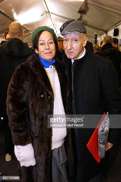 Lady Amanda Harlech and Stephen Jones pose Backstage after the Louis Vuitton Menswear Fall/Winter 20172018 show as part of Paris Fashion Week Held at...