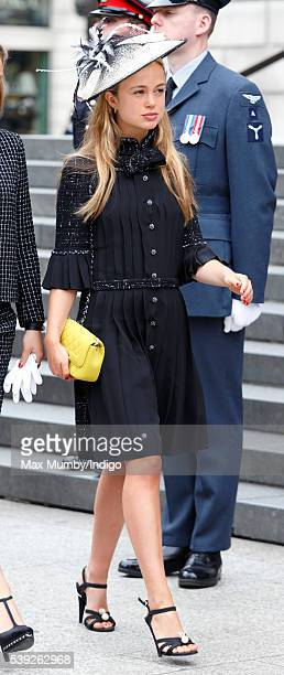 Lady Amelia Windsor attends a national service of thanksgiving to mark Queen Elizabeth II's 90th birthday at St Paul's Cathedral on June 10 2016 in...