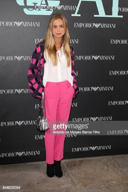 Lady Amelia Windsor attends the Emporio Armani show during London Fashion Week September 2017 on September 17 2017 in London England