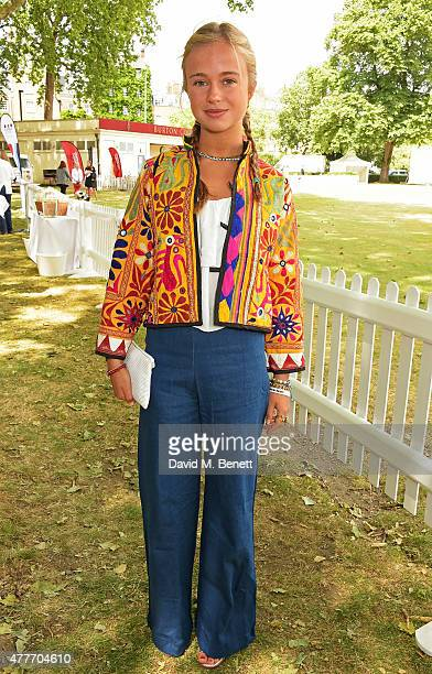 Lady Amelia Windsor attends the Flannels for Heroes charity cricket match and garden party hosted by menswear brand Dockers at Burtons Court on June...