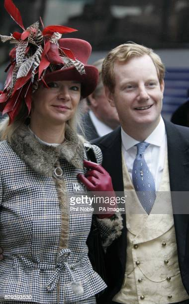 Lady and Lord Derby outside Chester Cathedral following the wedding of Lady Tamara Grosvenor and Edwin van Cutsem